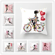 Pillow Flower Decorative Cushions Pillowcase Polyester Cushion Cover Pink Floral Throw Pillow Sofa Decoration Pillow Cover цена
