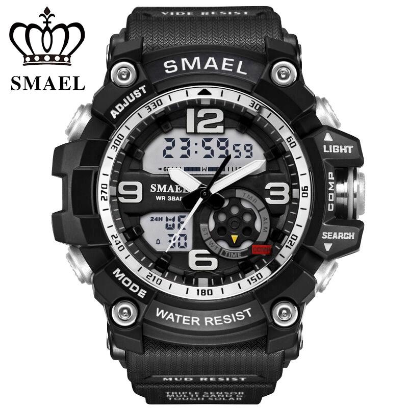 smael Top Luxury Brand Men Sports Watches 50M Waterproof Fashion Analog Digital LED Watch Military style Men Watche rga r 981 sports watche black