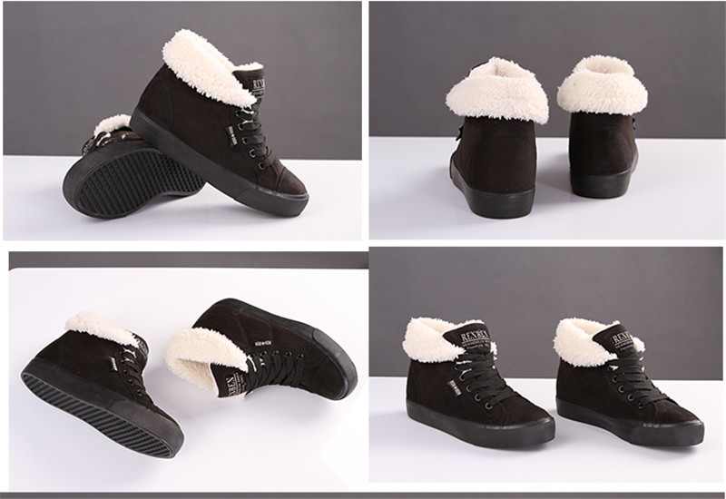 New Women Winter Faux Suede Leather Warm Plush Ankle Boots Autumn Women Shoes Fur Snow Boots Comfortable Running Shoes Sneakers 8