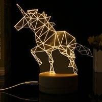 비전 3D 단일 뿔 야수 모양의 버튼 스위치 밤 빛 USB 테이블 램프 카페 바 홈 장식 생일 선물