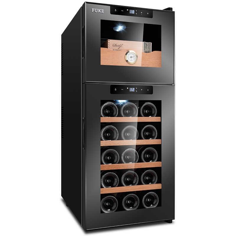 FK-18C التحكم الإلكترونية السيجار سيجار خزانة مشروبات درجة الحرارة الرطوبة المنزلية الصغيرة براد/ ثلاجة النبيذ