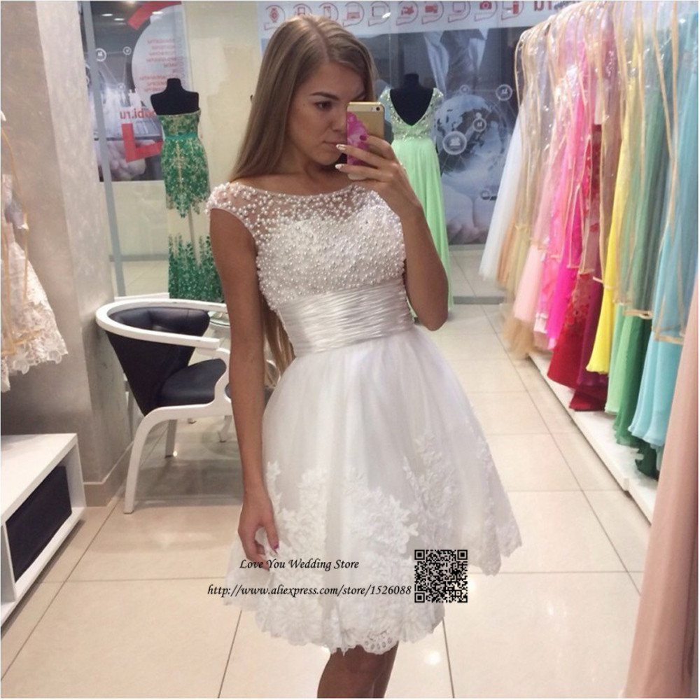 Modest White Lace Short Prom Dresses Cheap 2017 Pearls Beaded ...
