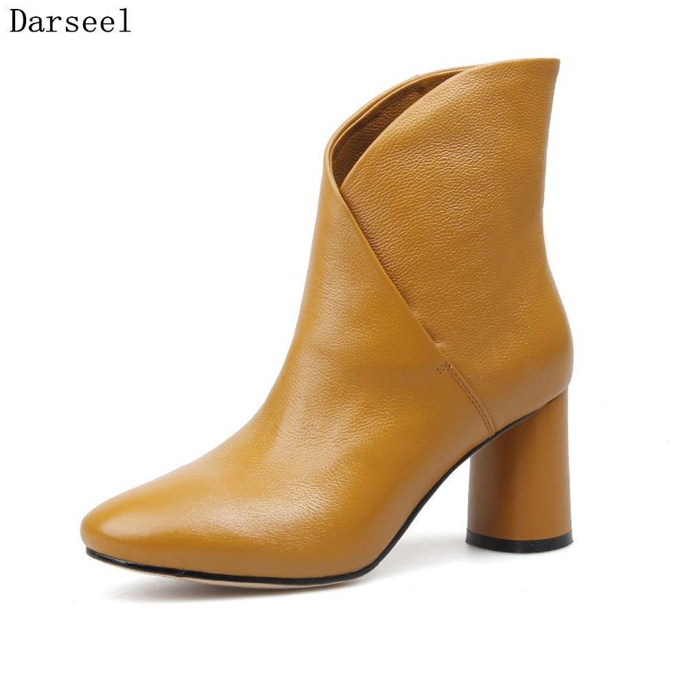 Darseel 33-43 Big Size Women Genuine Leather Ankle Boots Fashion Autumn Winter Female High Heel Boots Thick Heels Shoes Woman цены онлайн