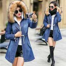 Women Hooded Fur Collar Thicken Denim Parkas 2016 New Fashion Winter Coat Women Slim Waist Long Jeans Outerwear Plus Size H6814