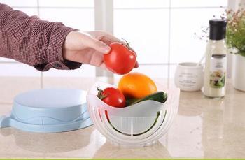 Kitchen Salads Tool Salad Cutting Bowl Wave Edge Salad Maker Fruit Vegetable Mixture Cutter Washing Strainer 1