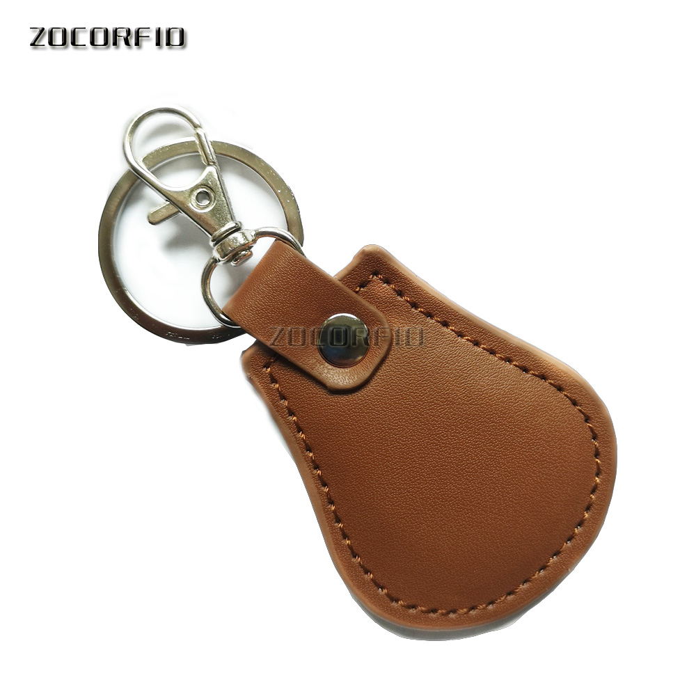 2pcs/lot TK4100 Chip (High- Grade Leather )125KHZ RFID Proximity ID Token Keyfob Keychains for Access Control