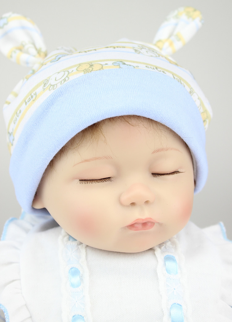 ФОТО New 18 inch lifelike soft silicone reborn baby dolls sleeping newborn baby boy bonecas best gifts for kids