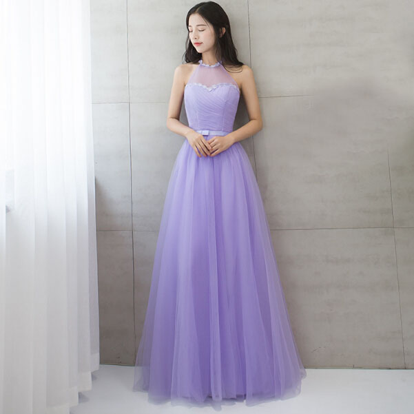 robe soiree party long halter neck sexy tulle prom dress lavender ...
