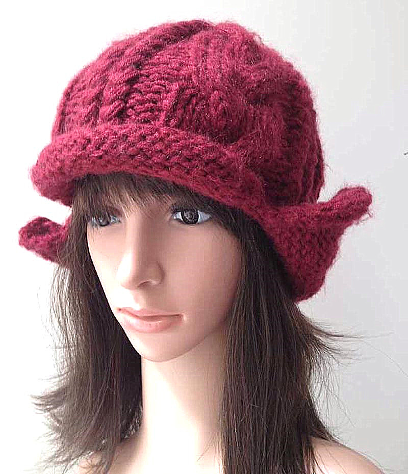 BomHCS 100% Handmade Crimping Curl Ear Muff Knitted Beanie Cap Women Winter Warm Hat bomhcs korean cute autumn winter warm color mosaic knitted hat ear muff 100% handmade women beanie cap