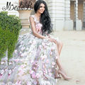 2017 3D Floral Flowers Evening Dress Pink Long A Line Abiti Da Sera Lunghi Saudi Arabia Formal Dress Long Party
