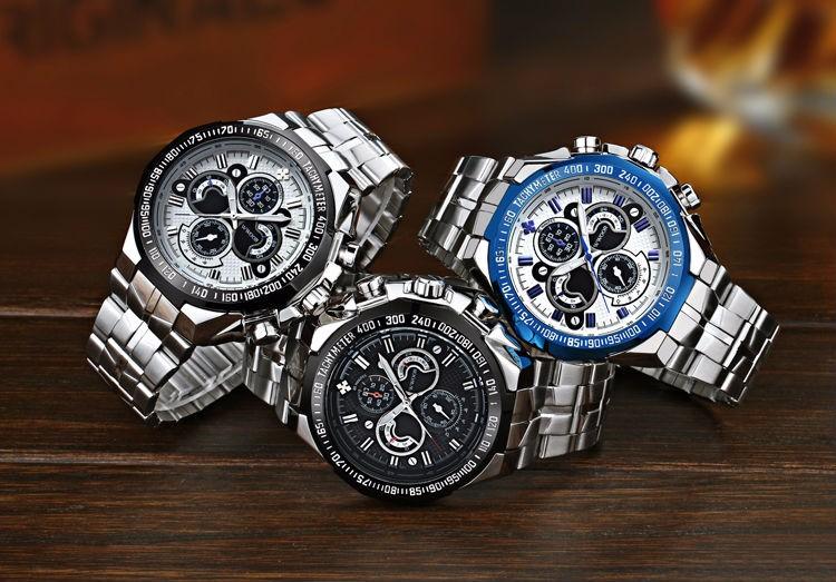 The New WWOOR Luxury Brand Men's Watches Stainless Steel Strap Sports Waterproof Watch Relogio Male Quartz Watch Leisure Watch 1