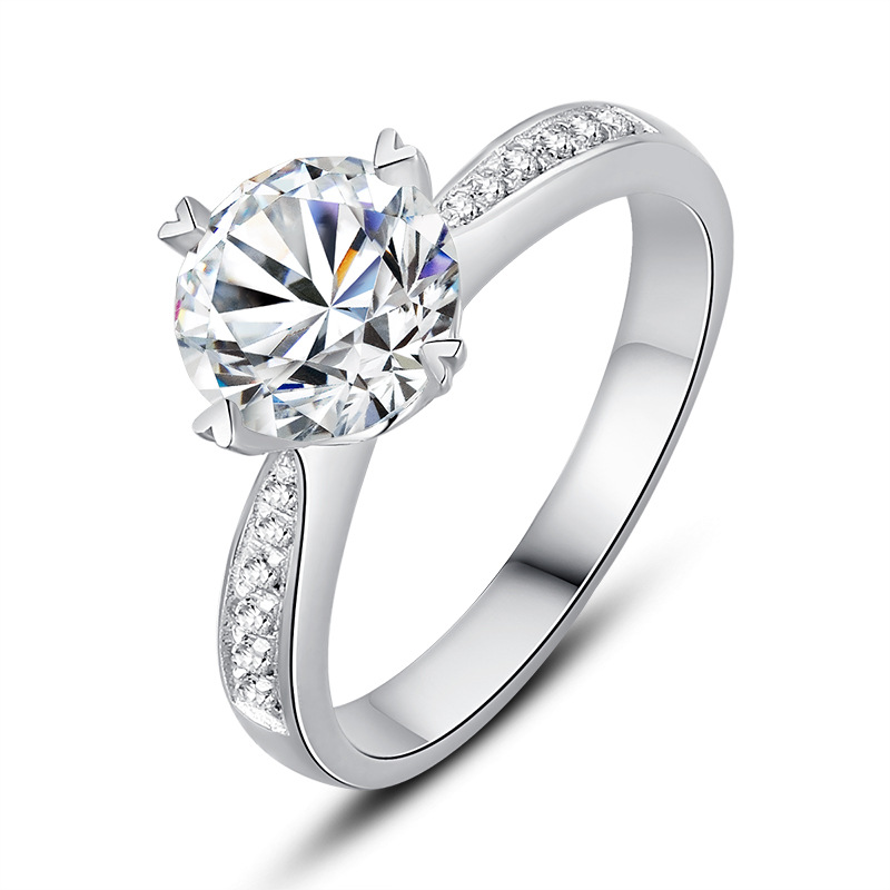 9K White Gold 1ct 2ct 3ct Moissanite Diamond Ring VVS1 round brilliant cut Heart shaped ring jewelry Wedding Engagement Ring in Rings from Jewelry Accessories