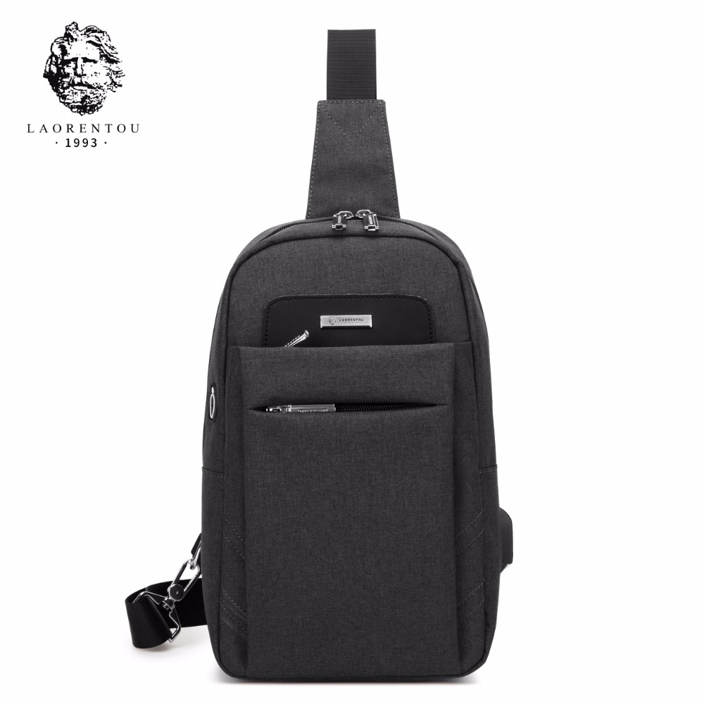 LAORENTOU Men's Chest Bags Canvas Crossbody Bags Casual Shoulder Bag Messenger Bag for Men