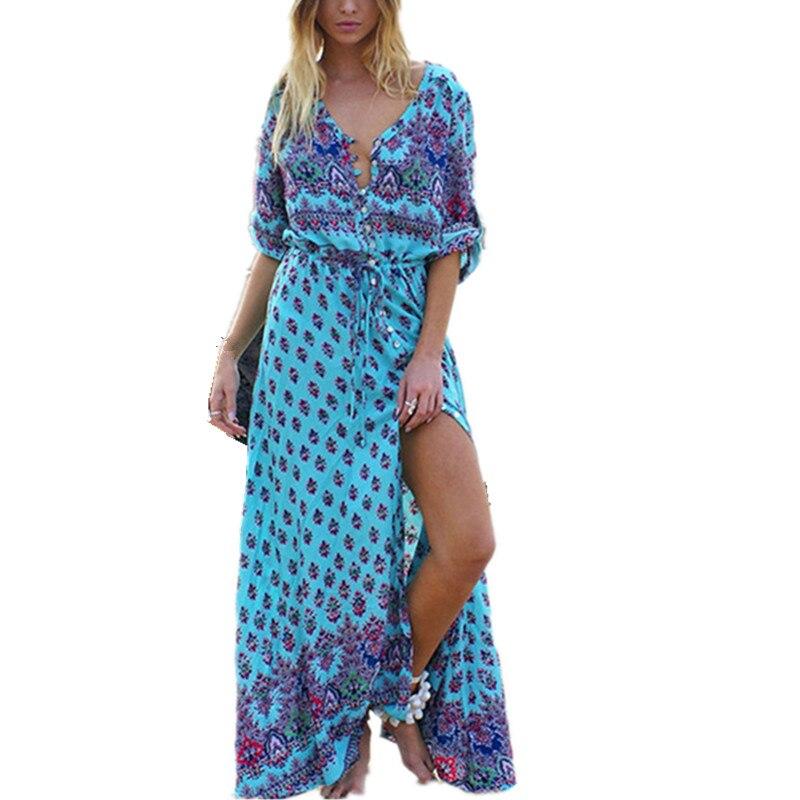 Summer Bohemian Long Dress Plus Size 2XL Women Casual ...