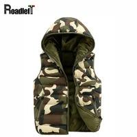 2015 Winter Men S Women Lovers Korea Style Outdoor Camouflage Cotton Hooded Vests Men Down Sleeveless