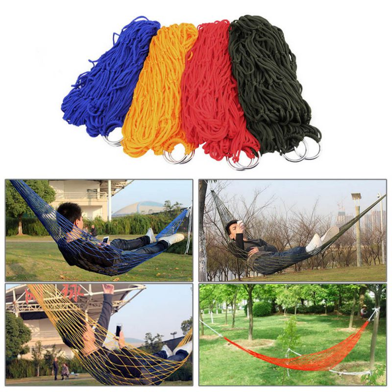 Portable Nylon Rope Outdoor Swing Fabric Camping Hanging Hammock Canvas Bed 1 Pc