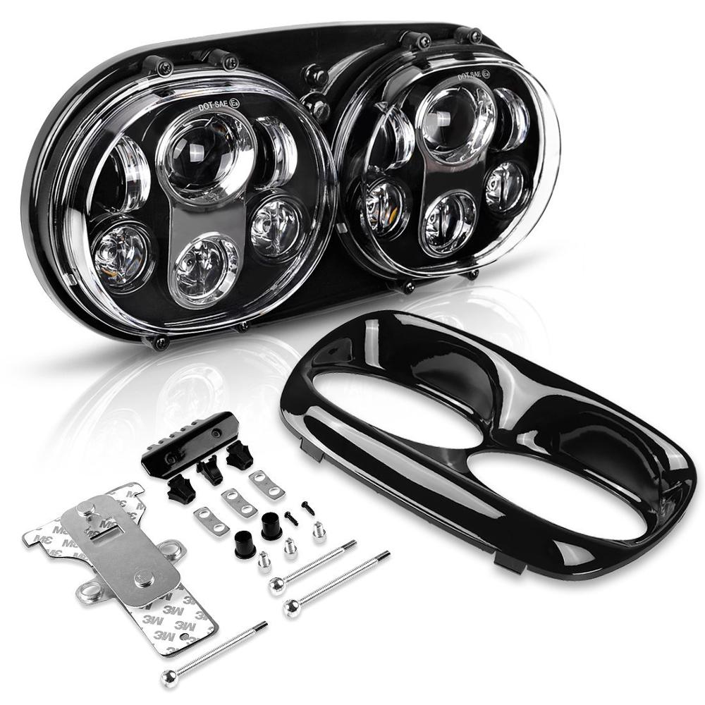 For Road Glide Motorcycle Headlight 90W Dual 5.75 Led Headlight For Road Glide 2004-2013 DOT Approved