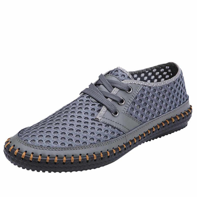 حذاء رجالي تنفس شبكة جوفاء الشقق عادية Zapatos دي Hombre الصيف الرجال أحذية ناعمة مريحة المضادة للانزلاق احذية الجري 79 #5