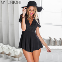 MOONIGHT Summer Women Skinny Deep V Bodysuits With Lace Jumpsuits Short Sleeve Backless Bodysuits Women Black