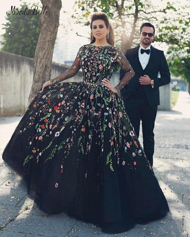 Modabelle 3D fleurs fleuries noir manches longues Robe de soirée Robe Dubai Soiree grande taille Robe de soirée Suknia Wieczorowa