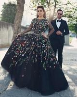 modabelle 3D Floral Flowers Black Long Sleeve Evening Dress Robe Dubai Soiree Plus Size Evening Dress Suknia Wieczorowa