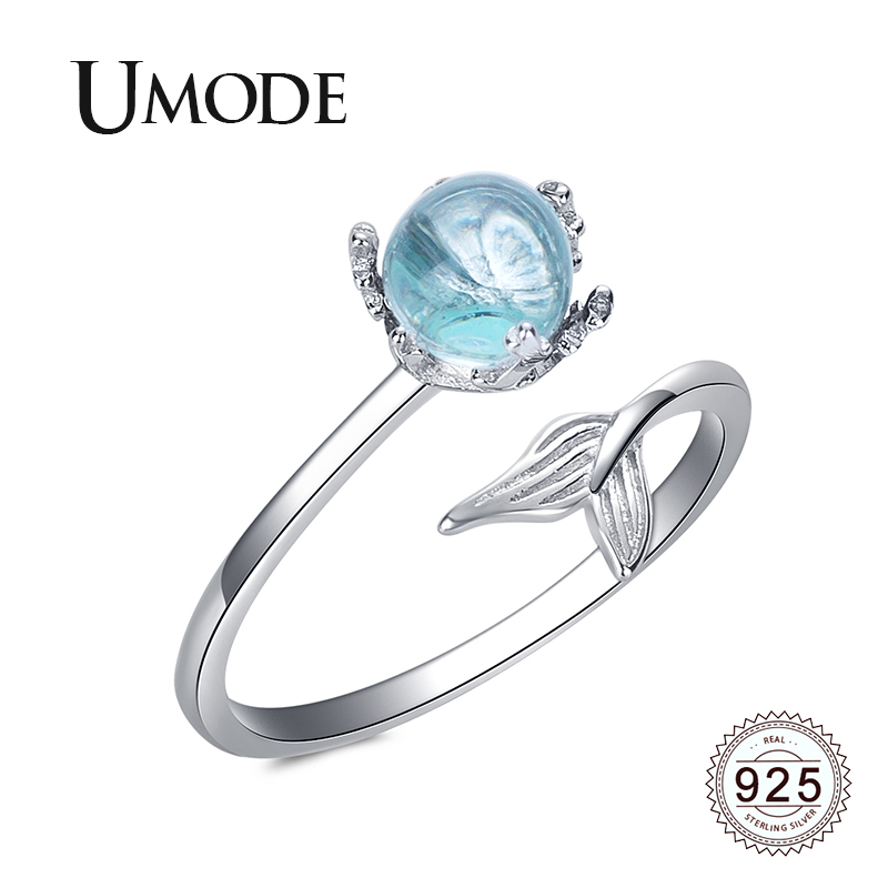 UMODE 2019 New 925 Sterling Silver Blue Artifitial Crystal Adjustable Open Ring For Women Cute Mermaid Tail 925 Jewelry ALR0746