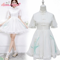 Kawaii Summer Women Dress Mori Girl Lolita Cute Princess Dress White Printing Vestidos Femininos