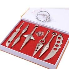 7 unids/set de espadas de juguete de aleación, cuchillo militar, Hatake, Kakashi, Deidara, Kunai, Shuriken, figuras, armas de juguete, regalo para niño