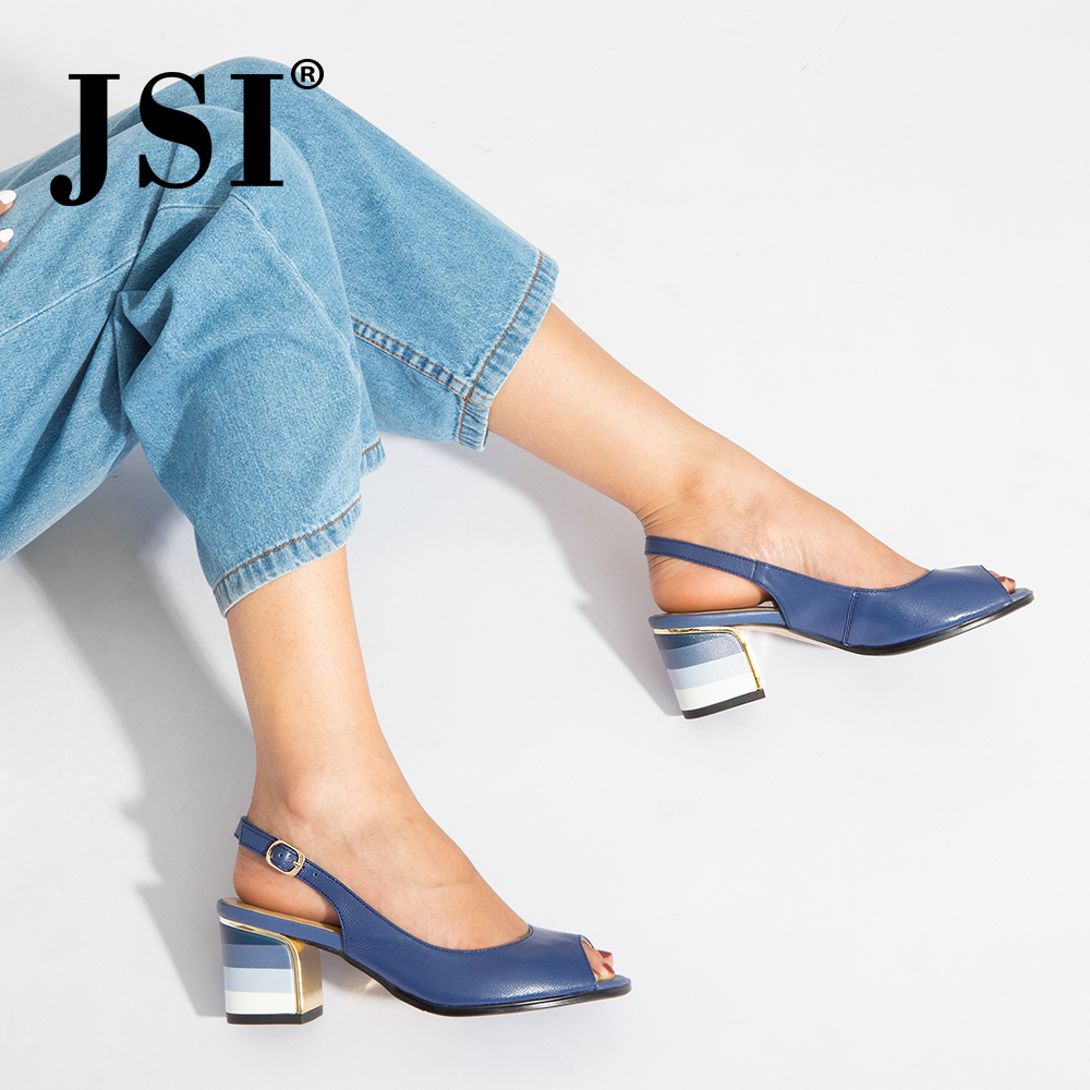 JSI New Arrival Woman Genuine Leather Buckle Strap Basic Classic Sandals Beautiful Gradients Square Heel Back