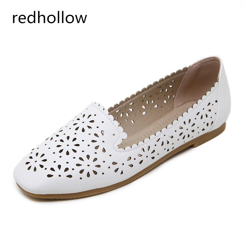Spring Summer Women Flat Shoes Ballet Flats Hollow Out Breathable Soft Slip On Lady Casual Loafers