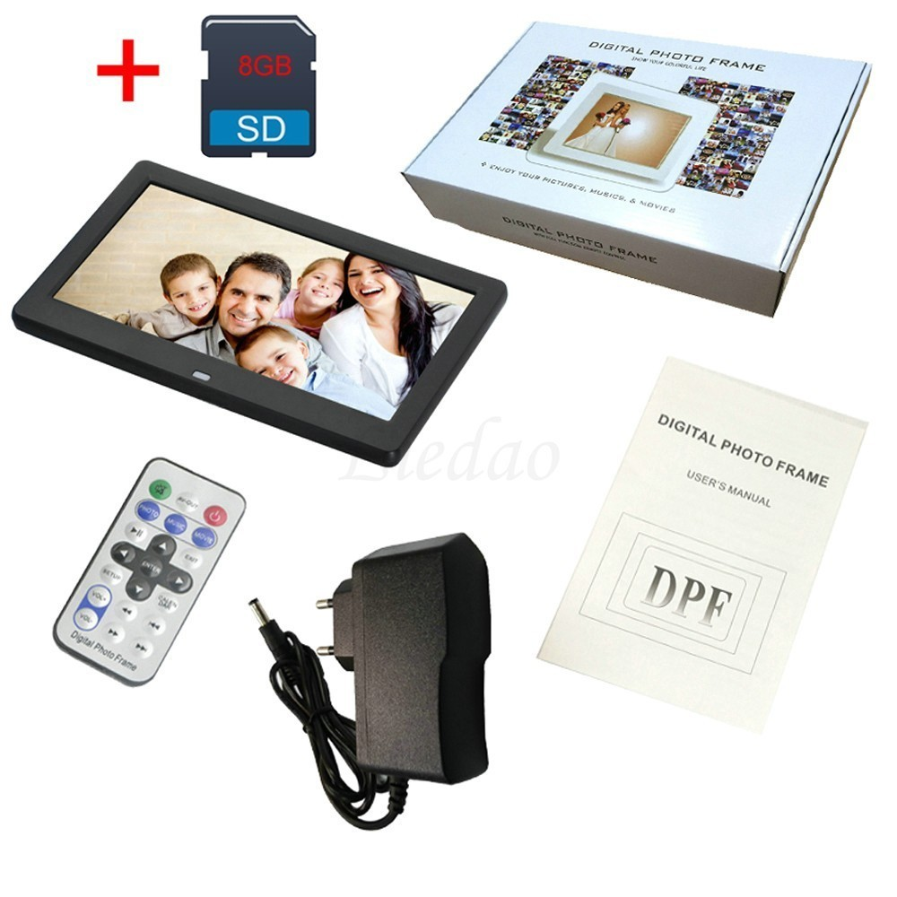 10 Inch Digital Photo Frame LED Backlight 1024 * 600 Screen Electronic Album Picture Music Video 8 GB SD Card Together Good Gift 12