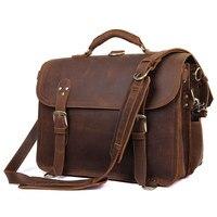 Men's Business Vintage Travel Large 17 Laptop Handbag Shoulder Bags 2018 Cow Leather Big Tote Bag Crazy Horse Travelling Bag