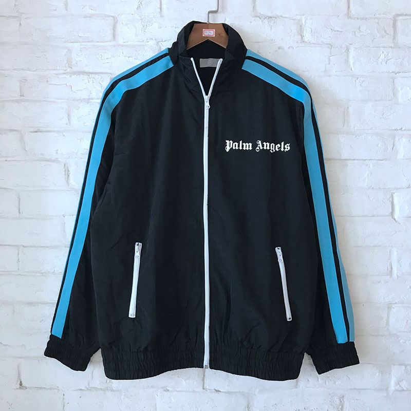 2018 New Palm Angels Jackets Hip Hop Fashion Autumn Winter Zipper Palm Angels Jacket Stripe Mesh Palm Angels Black Jackets Coat-in Jackets from Men's Clothing