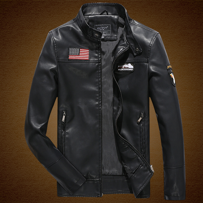 Men's Autumn/Winter Leather Jacket PU Leather Stand Collar Zipper Casual Leather Jackets Eagle Embroidery USA Army Pilot Jackets