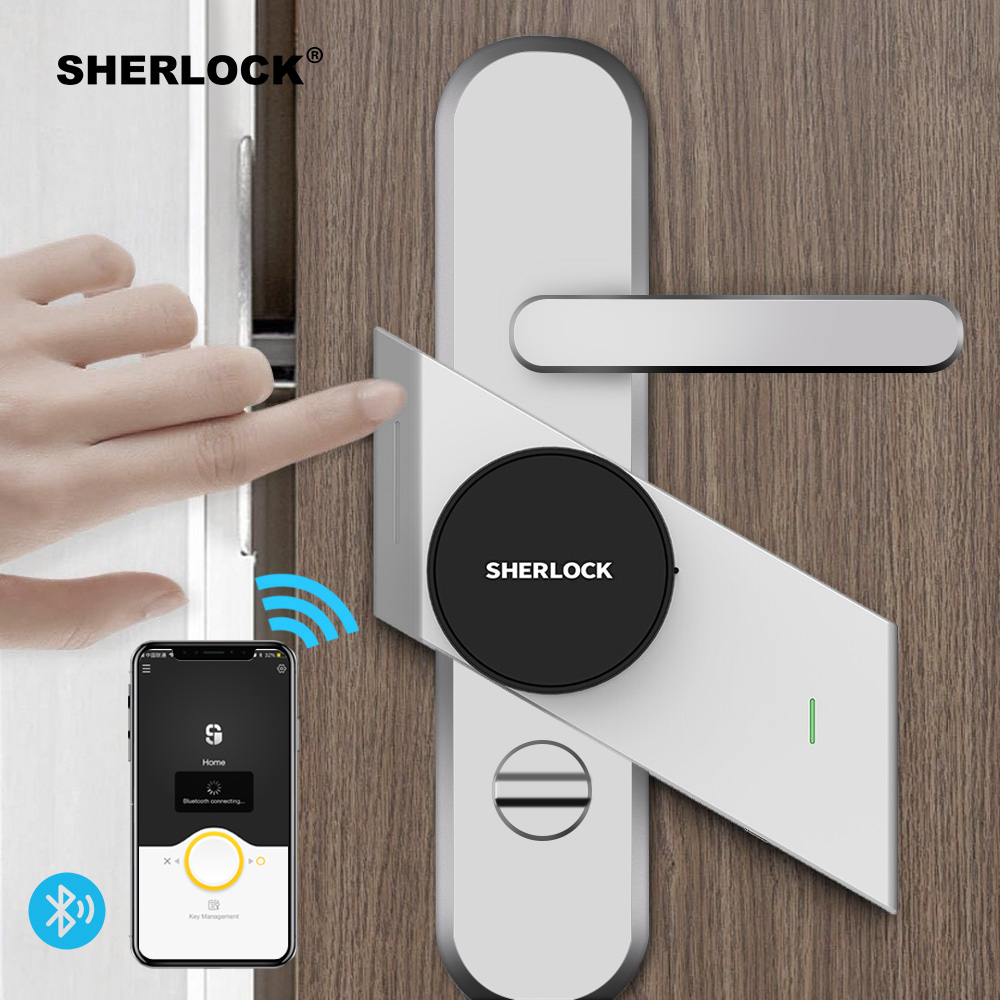 Sherlock S2 Smart Door Lock Home Keyless Lock Fingerprint + Password Work Electronic Lock Wireless App Phone Bluetooth Control rak dinding minimalis diy