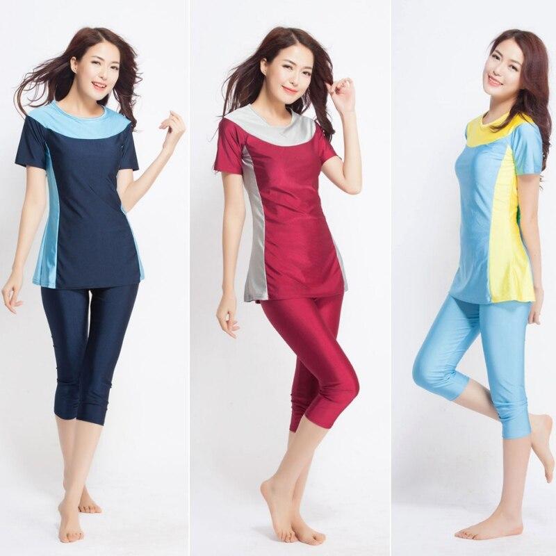 2017 Women Short sleeve font b muslim b font font b swimsuit b font swimwear modesty