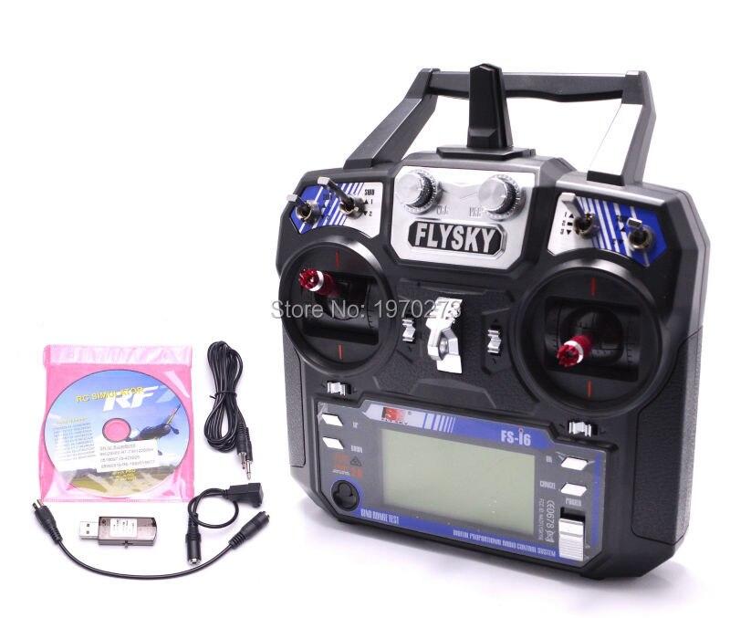 Flysky FS-i6 FS I6 2.4g 6ch RC Émetteur w/FS-iA6 Récepteur Avec 22 dans 1 USB Flight Simulator câble Pour RC Quadcopter Planeur