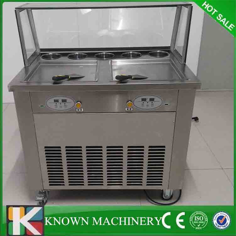 Free shipping 220V 110V 35cm double Double square pan fried ice cream machine R410a double compressor ice cream roll machineFree shipping 220V 110V 35cm double Double square pan fried ice cream machine R410a double compressor ice cream roll machine