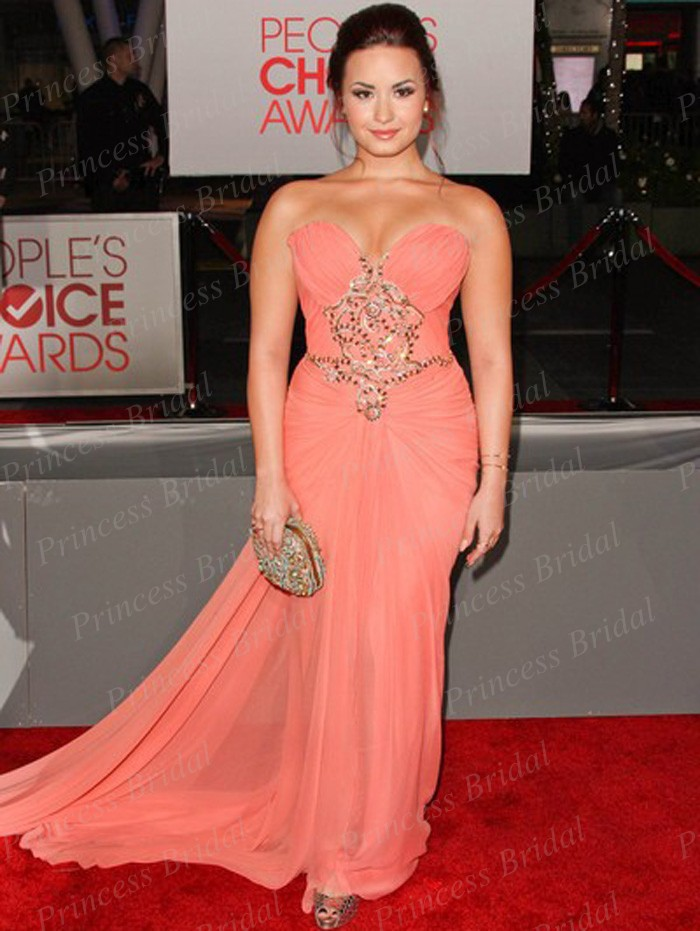 Mermaid Sweetheart Beaded Chiffon Demi Lovato Peach Dress Red Carpet ...