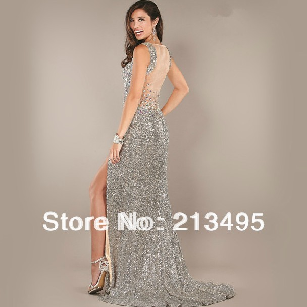 631648ef2551 sexy keyhole back long sequined dress high quality designer evening gown  pageant dresses 2017 luxury gowns with side split W591 on Aliexpress.com