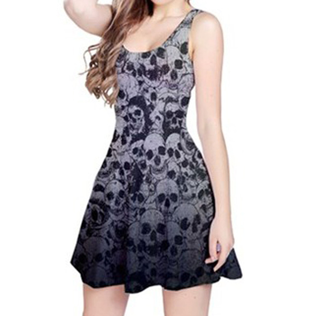 Women Skull Print Sleeveless Skeleton Print Dress