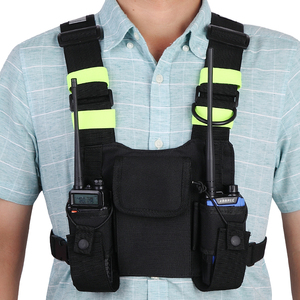Image 5 - Abbree Bright Green Radio Chest Harness Chest Front Pack Pouch Holster Vest Rig Carry Case for Two Way Radio Walkie Talkie
