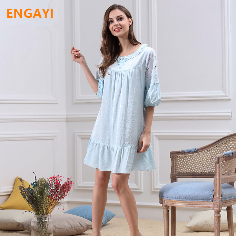 ENGAYI New Summer Women Night Dress Nightgown Sexy Lace Night Gown Nightdress Female Cotton Nightwear M5652