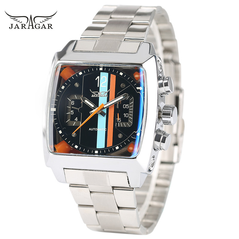 JARAGAR Luxury Fashion Men Automatic Self-Wind Mechanical Wristwatch Tonneau Case Unique Design Dial Bracelet Clasp Male Gift brand new 25mm od barb hose tail x 3 4 male thread pipe fitting connector stainless steel ss304 new high quality