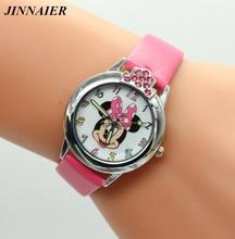 2018 más nuevos niños populares regalos de los niños de dibujos animados Minnie Mouse reloj de pulsera de cuero pequeño reloj del estudiante relojes Relojes de mujer