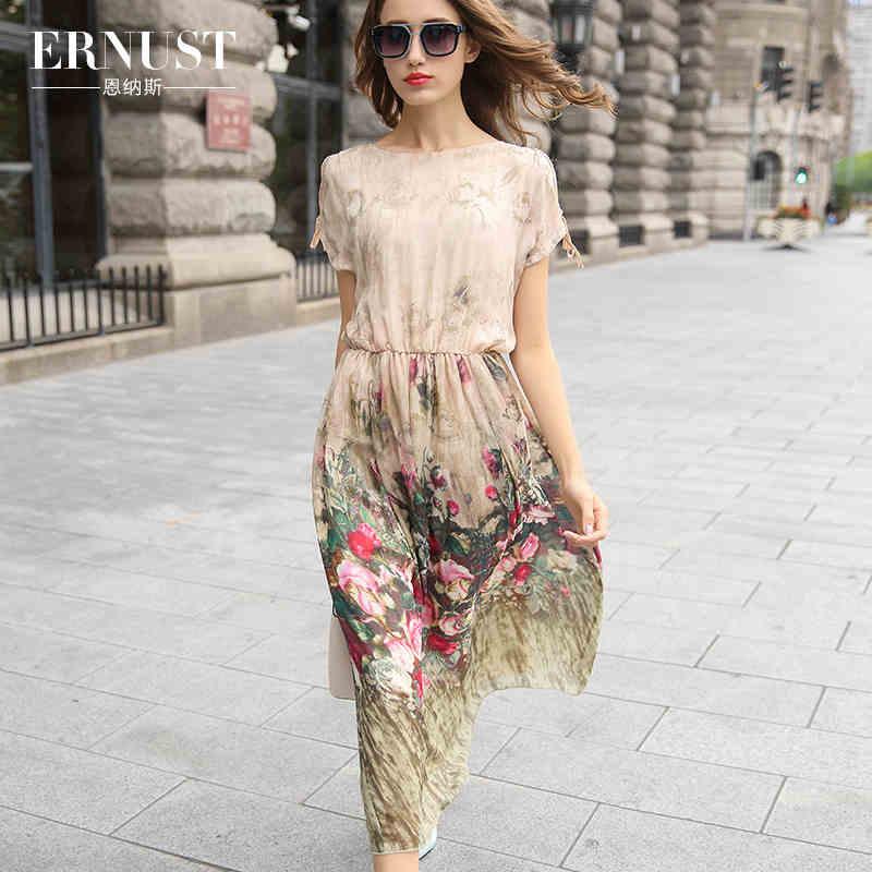 Aliexpress.com : Buy women Nenas high grade silk dress 2016 summer ...