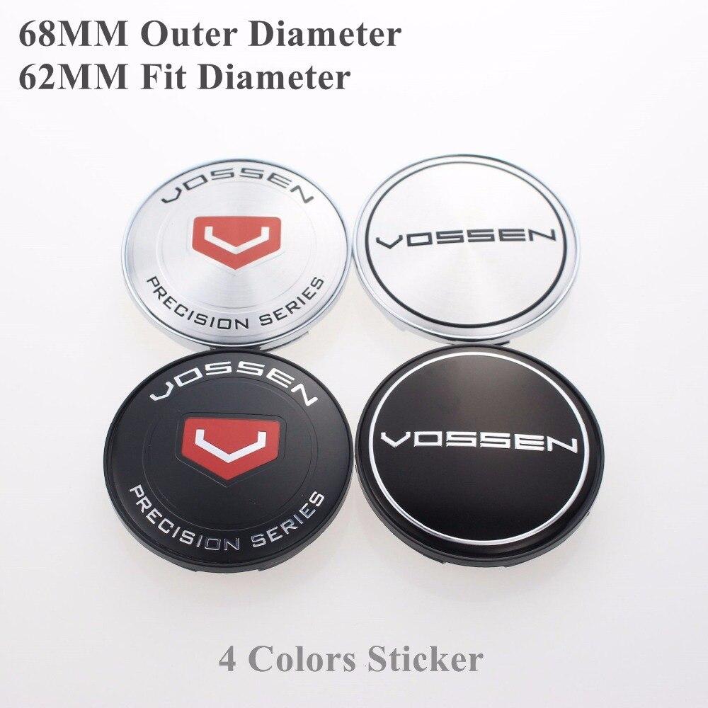 Black/Chrome 68MM Wheel Center Cap 62MM/2.44 Inch Inner Rim Hole Hubcaps For VOSSEN Logo Emblem Car-Covers SET OF 4 KOM POWER