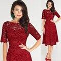 2017 nova mulheres lace dress meia manga o pescoço vestido formal party dress tamanho s ~ 3xl vestidos império vermelho fêmea do vintage feminino vestidos