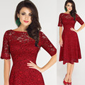 2017 nuevas mujeres del cordón dress media manga cuello o formal party dress tamaño s ~ 3xl vestidos imperio rojo femenino de la vendimia feminino vestidos