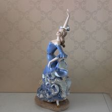 Spanish Style Porcelain Lady Flamingo Dancer Sculpture Ceramic Decoration Gift and Craft Ornament Embellishment Accessories